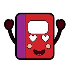 Notebook heart eyes school supplies kawaii ico vector