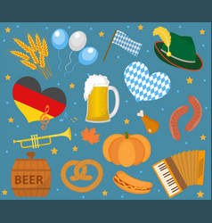 oktoberfest icon set flat or cartoon style vector image
