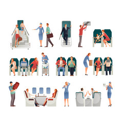 People in airplane set vector