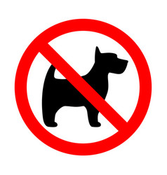Prohibition sign stop dog simple icon label vector
