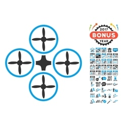 Quadcopter Icon With 2017 Year Bonus Pictograms vector