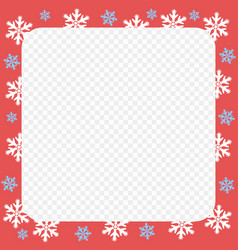 red frame christmas and new year snowflakes vector image
