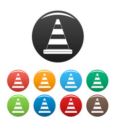 road cone icons set color vector image