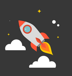 rocket flying in the sky vector image vector image