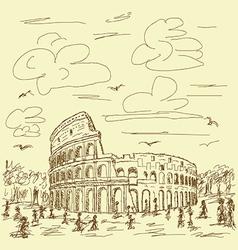 Rome colosseum vintage vector