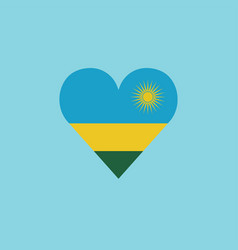 rwanda flag icon in a heart shape in flat design vector image