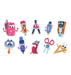 school cartoon characters student stationery vector image