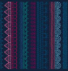 Seamless pattern crochet lacy edges on dark vector