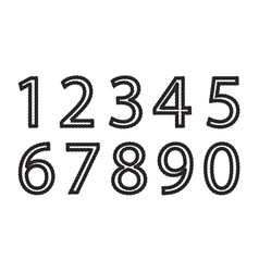 Set black and white number made from rope vector