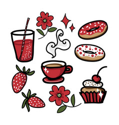 set cute drinks with sweets strawberry and vector image
