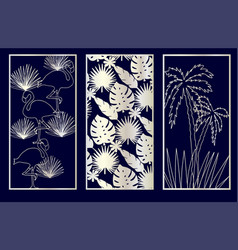 set decorative laser cut panel vector image