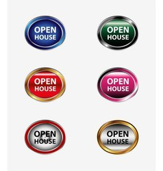 Set of open house button vector
