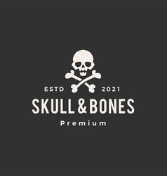 skull and bones hipster vintage logo icon vector image