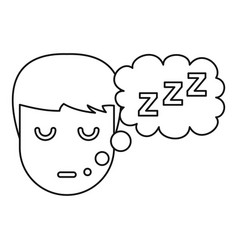 Sleeping boy icon outline style vector