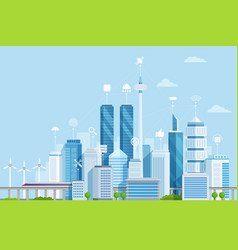 smart city flat modern urban vector image