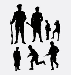 Soldier army and police silhouette 3 vector image