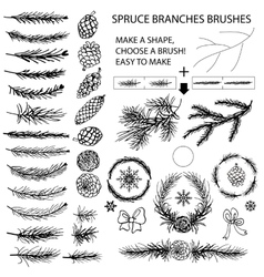 Spruce branches brushesPine conesbow silhouette vector