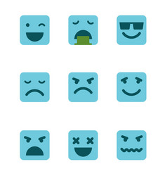 Squared emoticons icons set vector