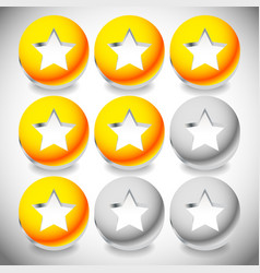 Star rating system with 3 stars and sphere vector