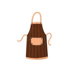 striped brown apron with big pocket and buttons vector image
