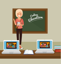 Teacher woman with laptop online education vector