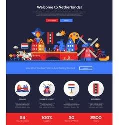 Traveling to Netherlands website header banner vector image