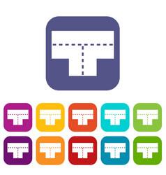 Tshaped crossroad icons set flat vector
