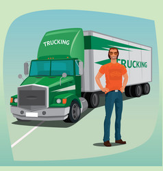 Unshaved driver and streamlined cab box truck vector