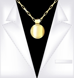 White suit and golden chain vector