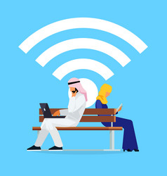 Wi-fi concept young muslim couple on bench vector