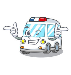 wink ambulance character cartoon style vector image