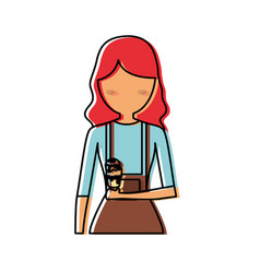 Woman avatar with red hair an ice cream v vector