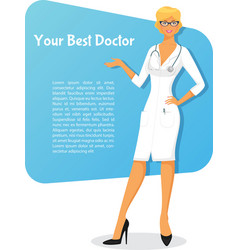 Woman doctor in white uniform vector