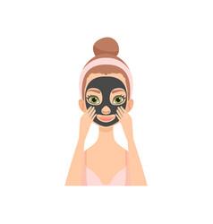 Young woman applying charcoal mask girl caring vector