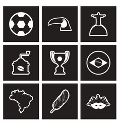 Assembly stylish black and white icons brazil vector