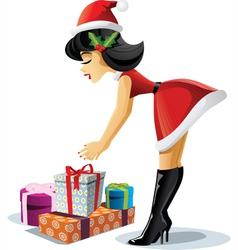 Pin Up Christmas Girl vector image