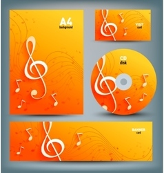 Set of template designs with music notes and key vector image vector image