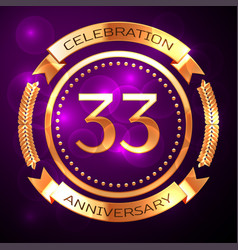 thirty three years anniversary celebration with vector image