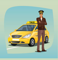 unshaved taxi driver with yellow car vector image