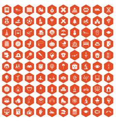 100 kids icons hexagon orange vector image vector image