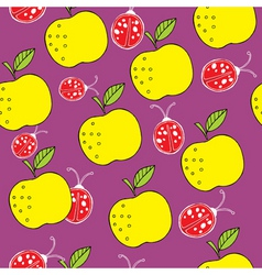 apple and ladybird pattern vector image vector image