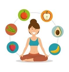 woman healthy food lifesytle vector image