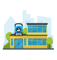 cartoon gym fitness building vector image vector image