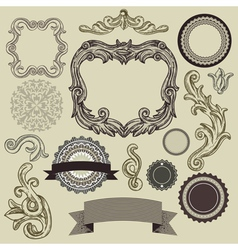 Collection of vintage design elements vector image vector image