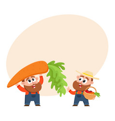 funny farmer characters harvesting vegetables vector image vector image