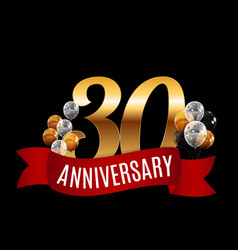 golden 30 years anniversary template with red vector image vector image