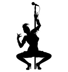 Punk musician girl striptease silhouette vector image