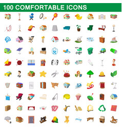 100 comfortable icons set cartoon style vector image