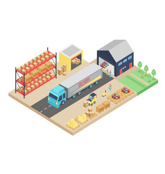 3d isometric process of the warehouse cargo vector