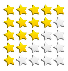 3d rounded star rating for rating valuation vector